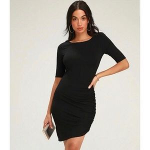 Lulu's Steal your attention bodycon dress black